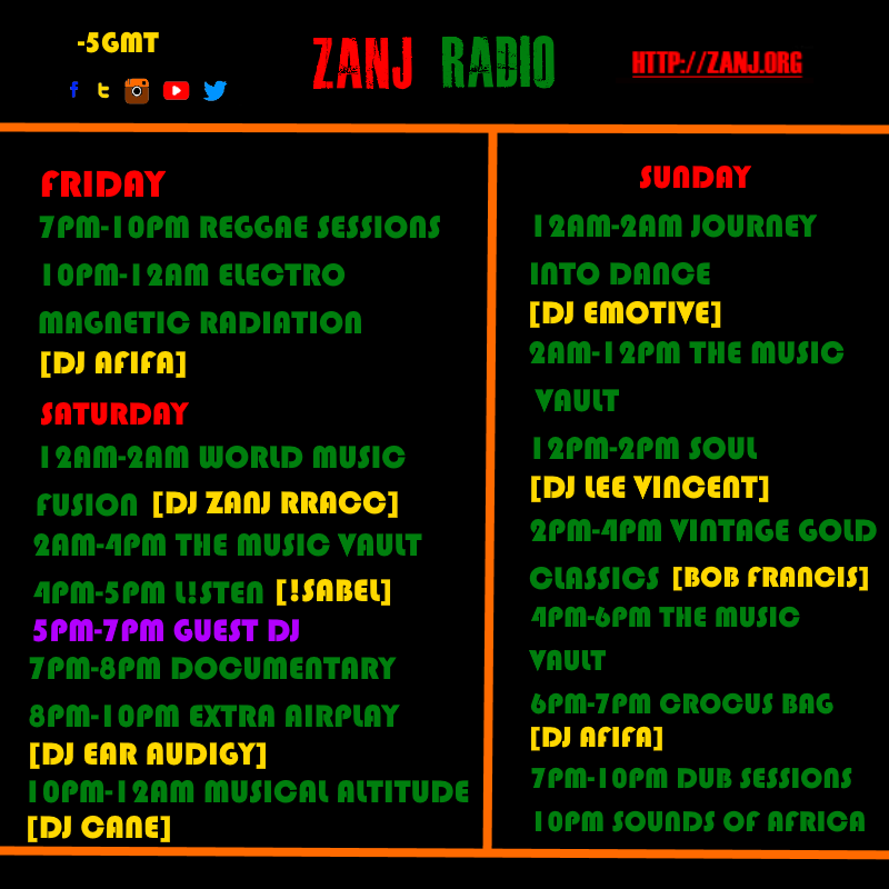 ZANJ RADIO Schedule